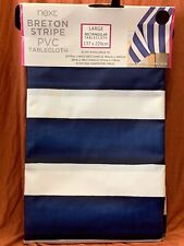 Next Matt PVC Breton Tablecloth White Navy Blue Stripe Nautical 137x229m Large