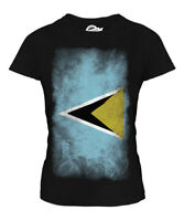 SAINT LUCIA FADED FLAG LADIES T-SHIRT TEE TOP ST. LUCIA SHIRT JERSEY GIFT