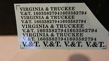 Custom O Scale O Scale Decal Set Virginia & Truckee (V&T) Black, NEW!