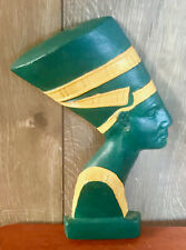 Mid Century Green Gold Vintage Egyptian Queen Chalkware Bust Wall Hanging Art