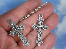 5 Cross Pendants Antique Tibetan Silver Tone Lovely Fleury 47mm long #P370
