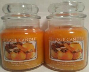 2 Village Candle Orange Cinnamon 16 oz Glass Jar Scented Candle, Medium