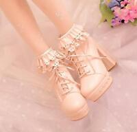 Lolita Womens Lace Ankle Boots Bow High Heel Lace Up Pumps Party Prom Shoes Sz#