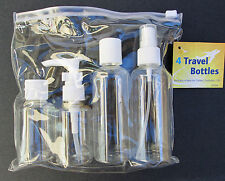 4PC Clear Travel Bottles Set w/Carrying Pouch Reusable Portable Plastic Carry on