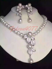 Gorgeous 9-8mm south seas white pearl necklace earrings 2pc/set 14K clasp