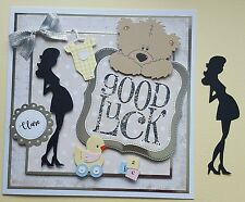 Luxury pregnant lady silhouette expecting baby Die Cuts x 10