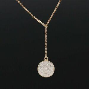 Diamond Pavé Lariat Necklace 10k gold, delicate & unique