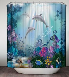 Dolphins Colorful Underwater Coral Ocean Fish Fabric SHOWER CURTAIN 70x70 Hooks