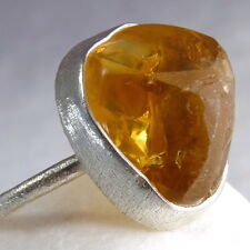 Feature Gem SILVERSARI Ring Size US 6.25 Solid 925 Stg Silver Tumbled CITRINE