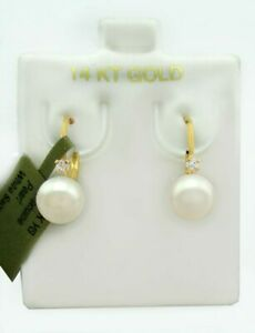GENUINE 7 mm WHITE PEARL EARRINGS 14K GOLD * Lever Backs ** NEW WITH TAG **