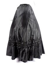GOTHIC VICTORIAN BLACK SILK SKIRT FOR DRESS W EMBROIDERED BRIAD DETAILS