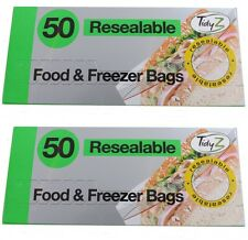 100 Resealable Food and Freezer Bags Pouches Plastic Extra Strong 17cm x 19cm
