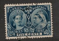#54 - Canada - 1897 - 5 Cent Jubilee  -  Used  - F/VF -  superfleas
