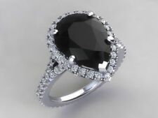 Pear Shape Black Moissanite & White Stone Studded 925 Silver Wedding Women Ring