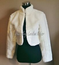Ivory Faux Fur Bolero Long Sleeves Jacket/Shrug/Stole/Wrap/Shawl Satin Lining