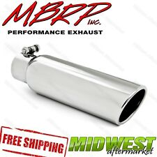 MBRP T5145 4 O.D 2.5 Inlet 16 Length T304 Stainless Steel Angled Cut Rolled End Clampless Exhaust Tip