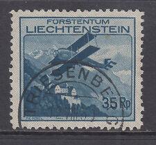 Liechtenstein Sc C4 used 1930 35rp Biplane Over Vaduz Castle, VF