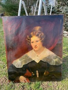 Antique American Folk Art Portrait Young Lady and Gold Watch1820 by John Blunt