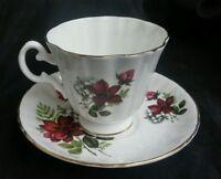 Royal Grafton ~ Fine English Bone China ~ Tea Cup & Saucer Set, Burgundy Rose