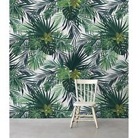 Tropical Green Leaves removable wallpaper self adhesive peel & stick home decor