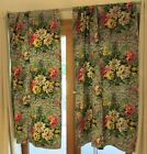 3 Sets of Vintage Pinch Pleat Bark Cloth Floral Curtains (Two Panels Per Set)