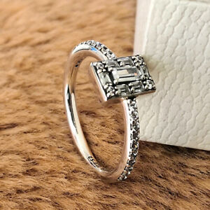 Authentic 925 Sterling Silver Sparkling Square Halo Ring Luminous Ice Clear CZ