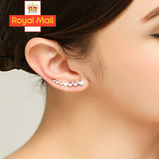 925 Sterling Silver Ear Crawler Climber Cuff Crystal Leaf Pair Earrings