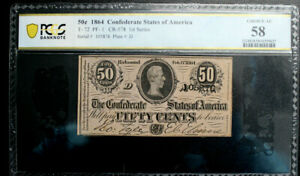 T-72 50C 1864 CONFEDERATE CURRENCY CSA PF-1 PCGS 58 ALMOST UNC NICE MARGINS