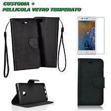 CUSTODIA COVER NERO LIBRO STAND PER MODELLI NOKIA 2 3 5 6 8 9 + PELLICOLA VETRO