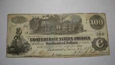 $100 1862 Richmond Virginia VA Confederate Currency Bank Note Bill RARE T39 VF+