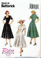 BUTTERICK SEWING PATTERN 6018 MISSES 14-22 RETRO '52 FLARED DRESS, FITTED BODICE