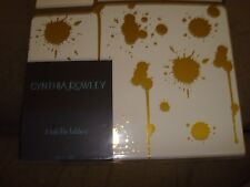 CYNTHIA ROWLEY 3 TAB FILE FOLDERS WHITE AND GOLD