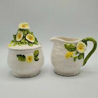 "Vintage Lefton ""Rustic Daisy"" Ceramic Creamer and Sugar Set #3856 1950's NICE"