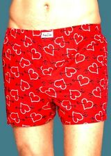 HAPPY SOCKS Mens Boxer Shorts RED w/ BLACK & WHITE HEART & ARROW DESIGN Sz Small