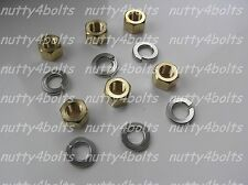 "MGB,MG,SPITFIRE, MINI , 5/16"" UNF EXHAUST MANIFOLD BRASS NUTS+STAINLESS WASHERS"