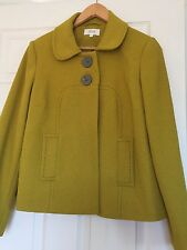M&S lined jacket Size 10 chartreuse green oversize buttons pockets