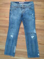ROSSODISERA Distressed Low Rise Straight Leg Jeans w/ Rhinestones 27 ITALY