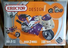 Erector Meccano Design - Motorcycle Builds 3 Models Facotry Sealed