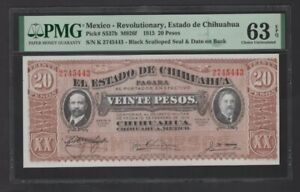 Scarce 1915 Mexico-Revolutionary,Estado de Chihuahua 20 Pesos Banknote PMG63 UNC