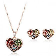 18K Rose Gold GP Colorful Multi Hearts Swarovski Crystals Set Necklace Earrings