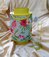 COLOURFUL METAL & PRINTED BAMBOO TEA LIGHT HANGING LANTERN FLAMINGO TROPICAL