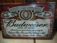 Vintage Budweiser Lager Beer Tin Metal Sign Anheuser Busch Old Logo 8 x 12 inch
