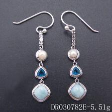 Solid Sterling S925 Natural Larimar Blue Topaz Gemstones Jewelry Earrings