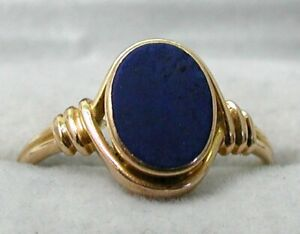 Gents 14 carat Gold And Lapis Lazuli Signet Ring Size T