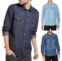 Wrangler Long Sleeve Denim Shirt Fashion Western Indigo Jean Shirts Regular Fit