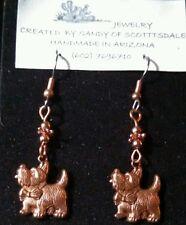 CUTE Westie, Scottie, Terrier Dog copper earrings by Sandy of Scottsdale