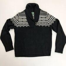 RALPH LAUREN Tribal Sweater Large Shawl Collar Antler Button Heavy Cotton Black