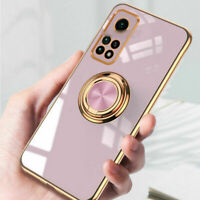 For Xiaomi Mi 10T / 10T Pro Luxury Magnetic Plating Ring Holder Soft Case Cover