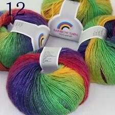 Sale Soft Cashmere Wool Colorful Rainbow Wrap Shawl DIY Hand Knit Yarn 50grx4 12