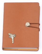 Pistol Holster Design Pewter Emblem Notebook A6 Leather Effect Shooting Gift
